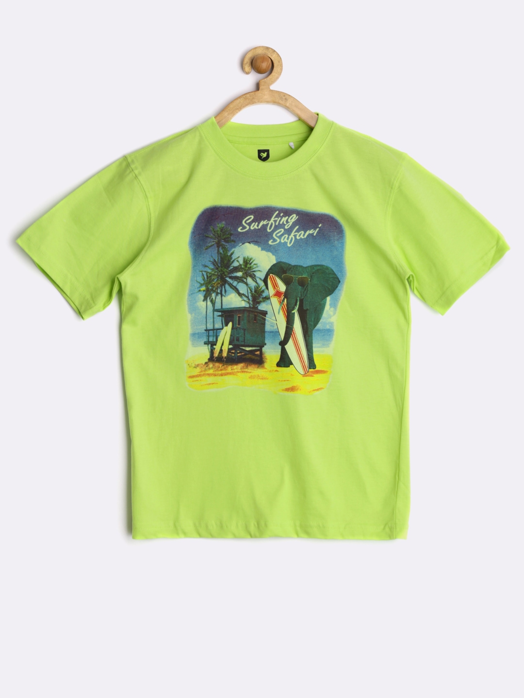 Myntra 612 league boys green printed t shirt 851341 buy for Boys printed t shirts