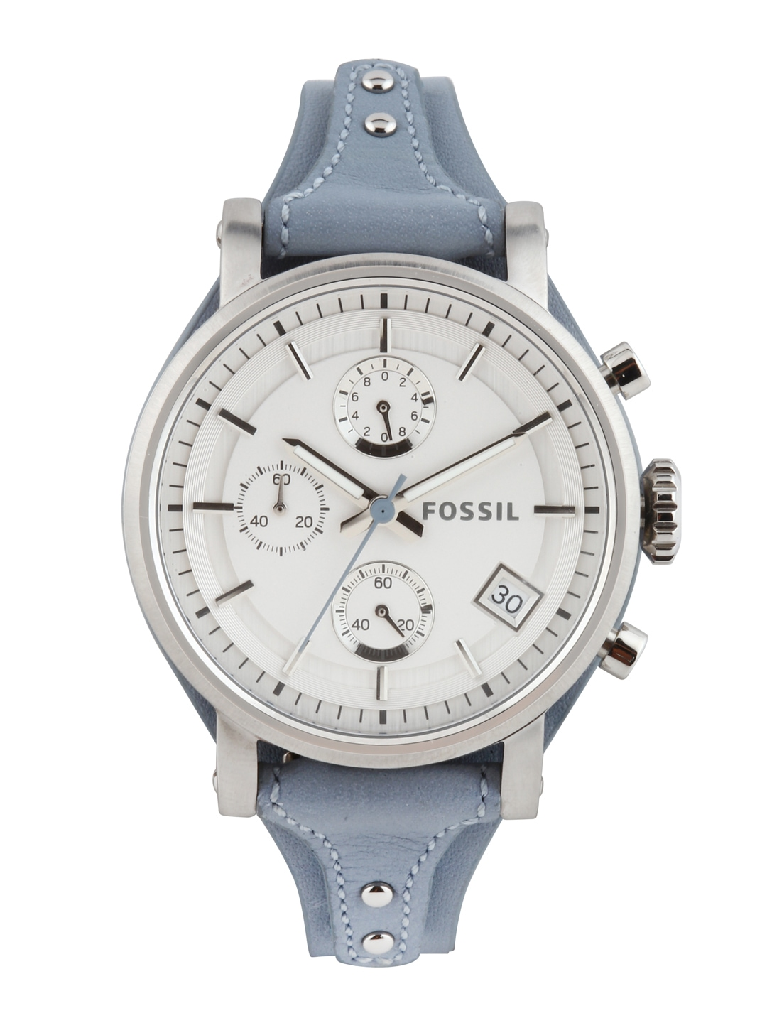 myntra fossil silver toned chronograph