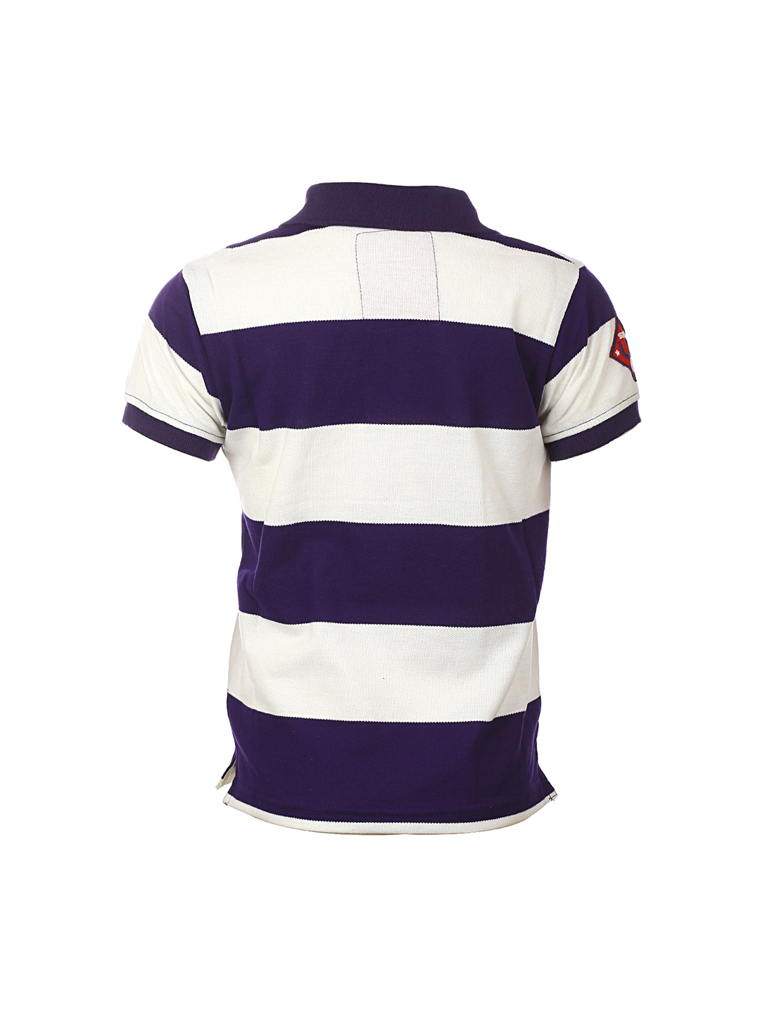 Myntra lumber boy purple white striped polo t shirt for Purple and black striped t shirt