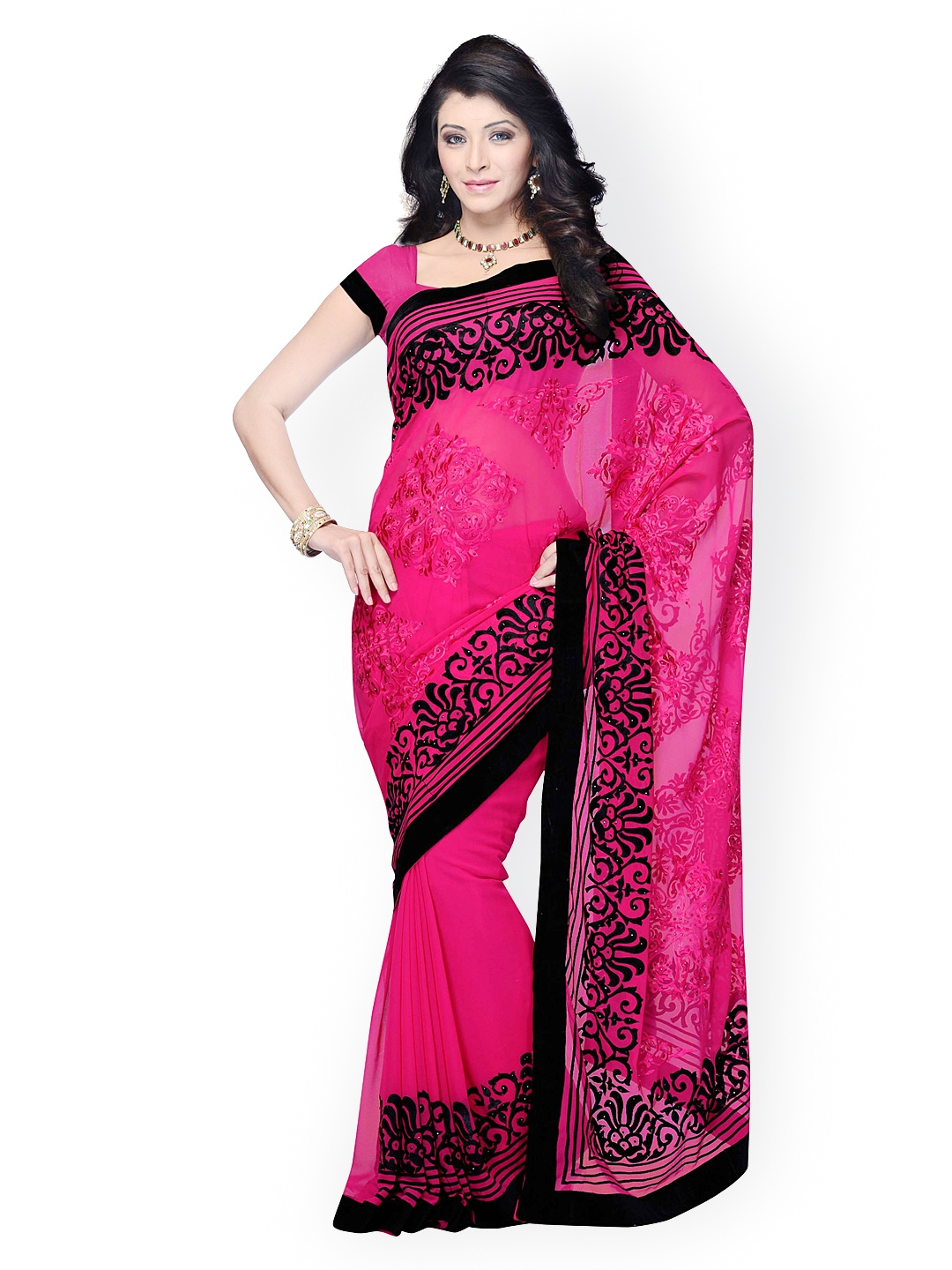 Myntra Colors Pink Embroidered Georgette Fashion Saree 854732 Buy Myntra 7 Colors Life Style