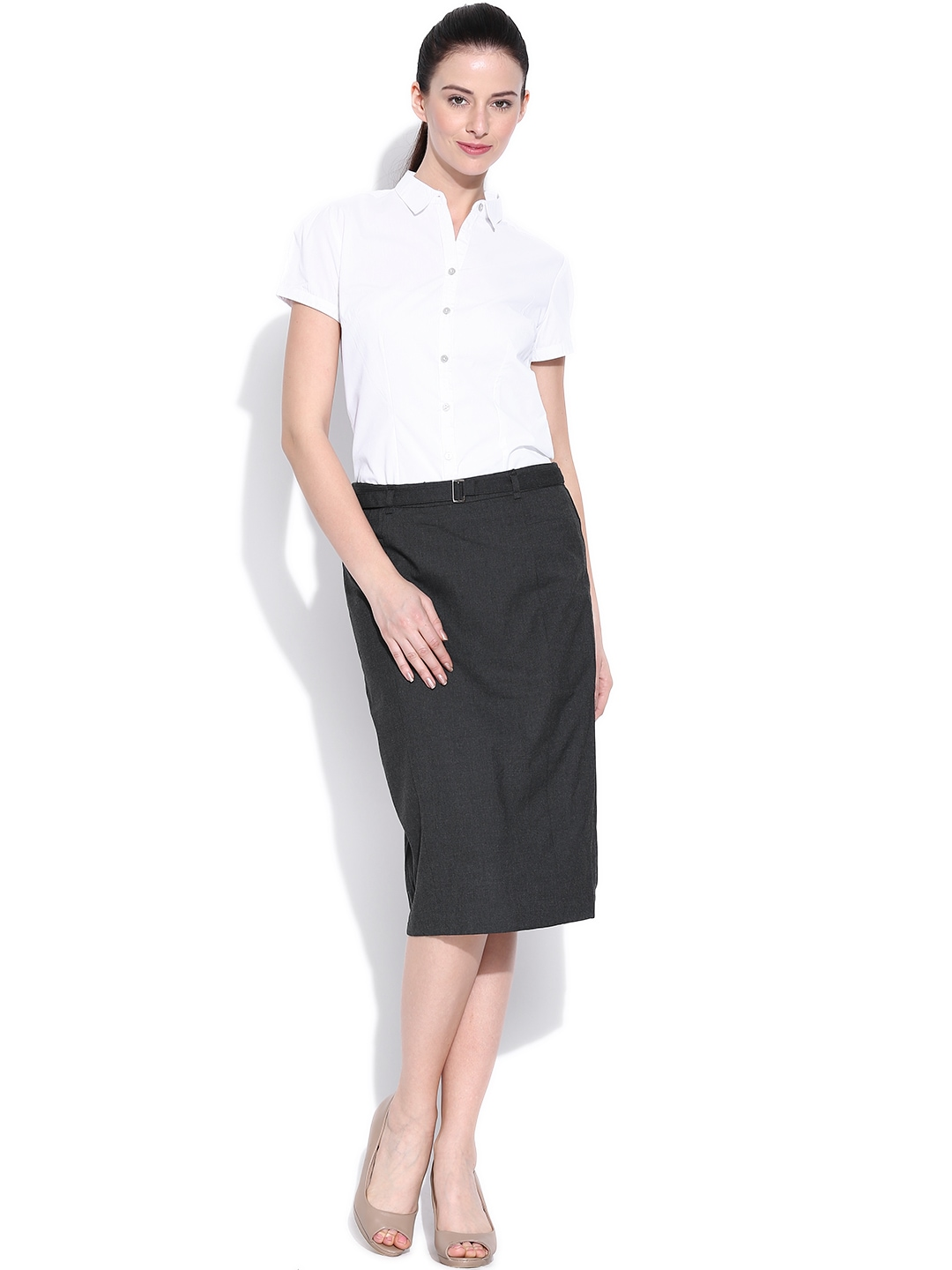 myntra annabelle by pantaloons charcoal grey pencil skirt
