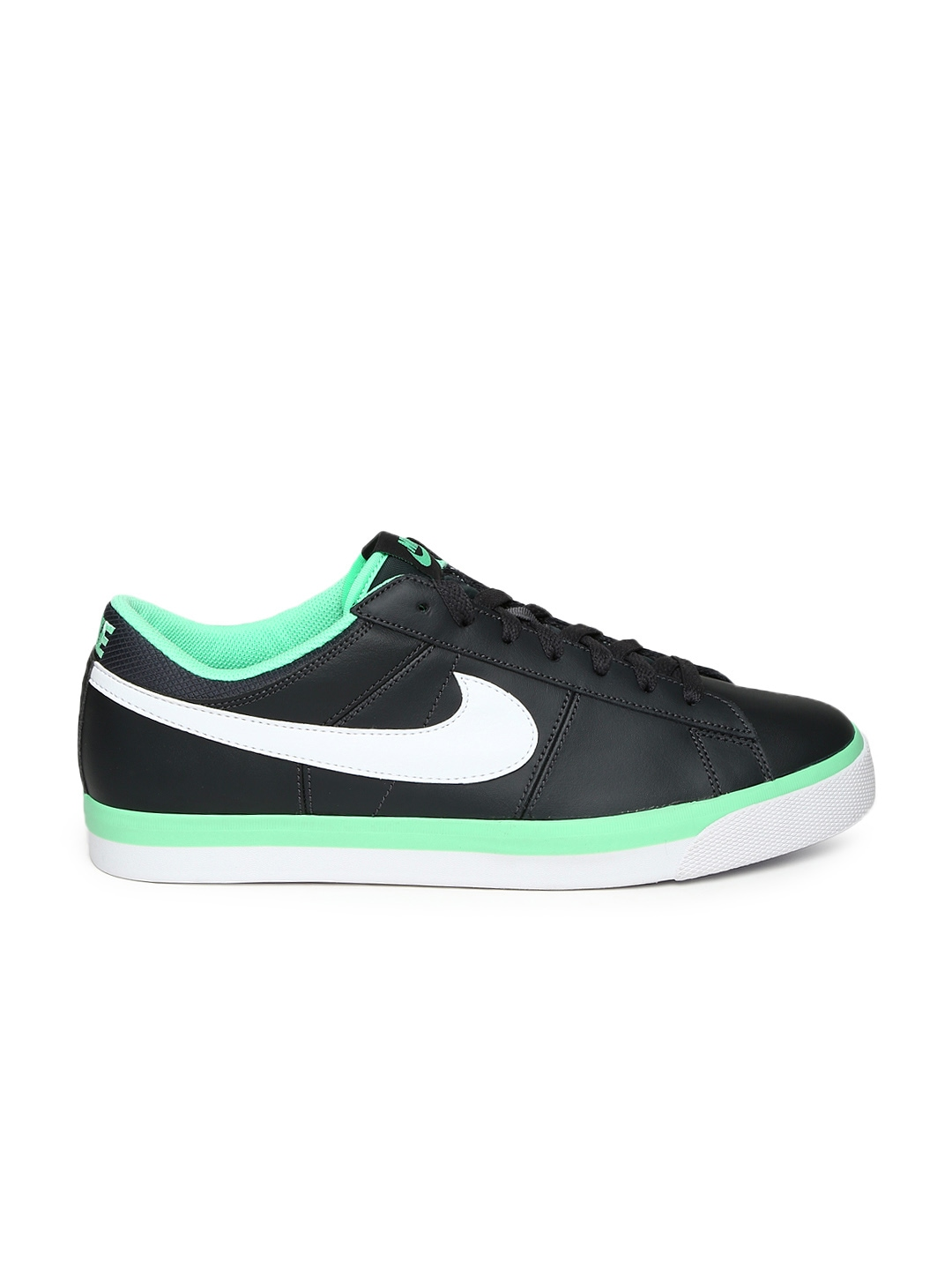myntra nike black match supreme leather casual shoes