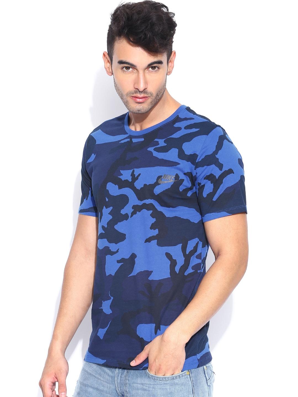 Myntra nike blue printed camo t shirt 857902 buy myntra for Nike t shirt price