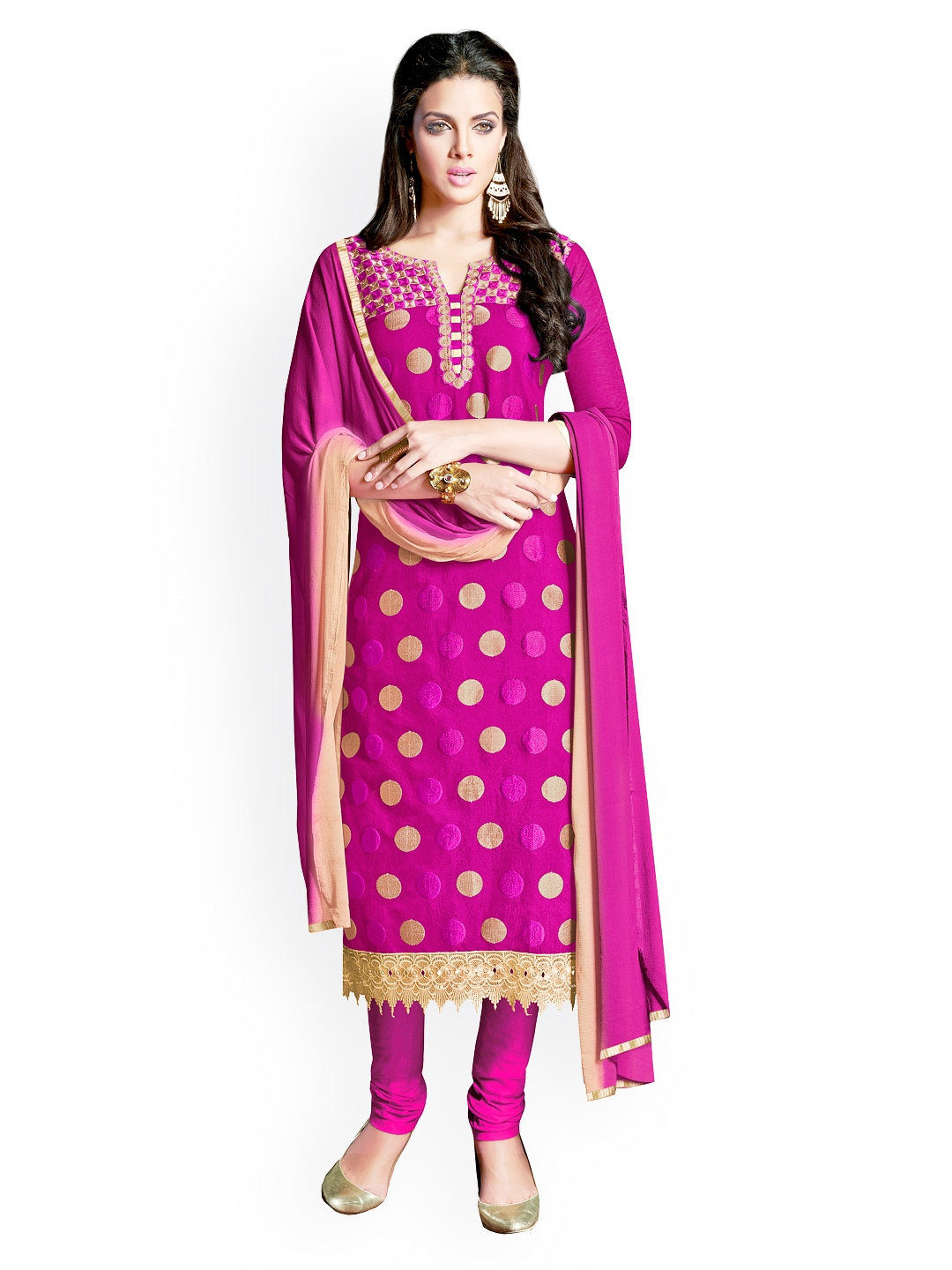 Myntra khushali pink embroidered chanderi cotton