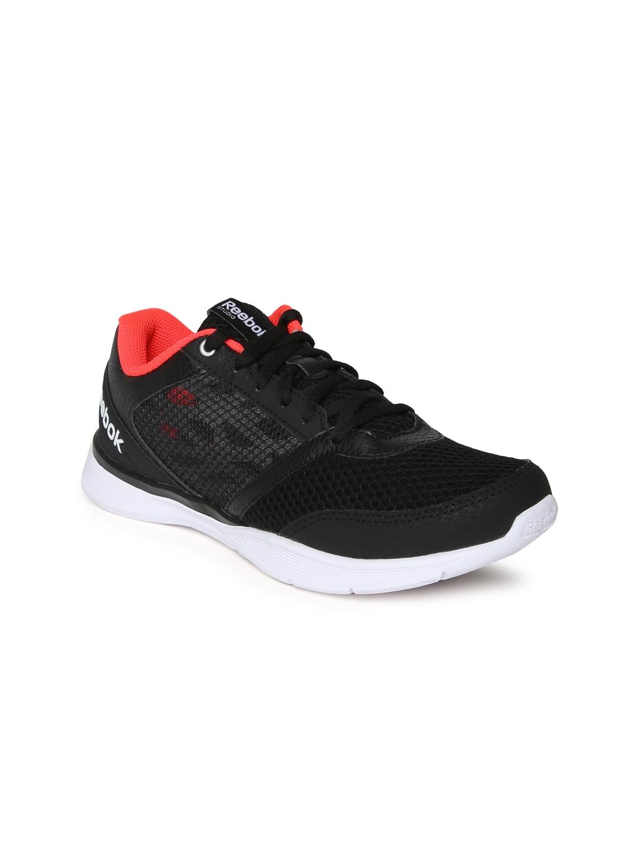 myntra reebok black cardio workout low running shoes
