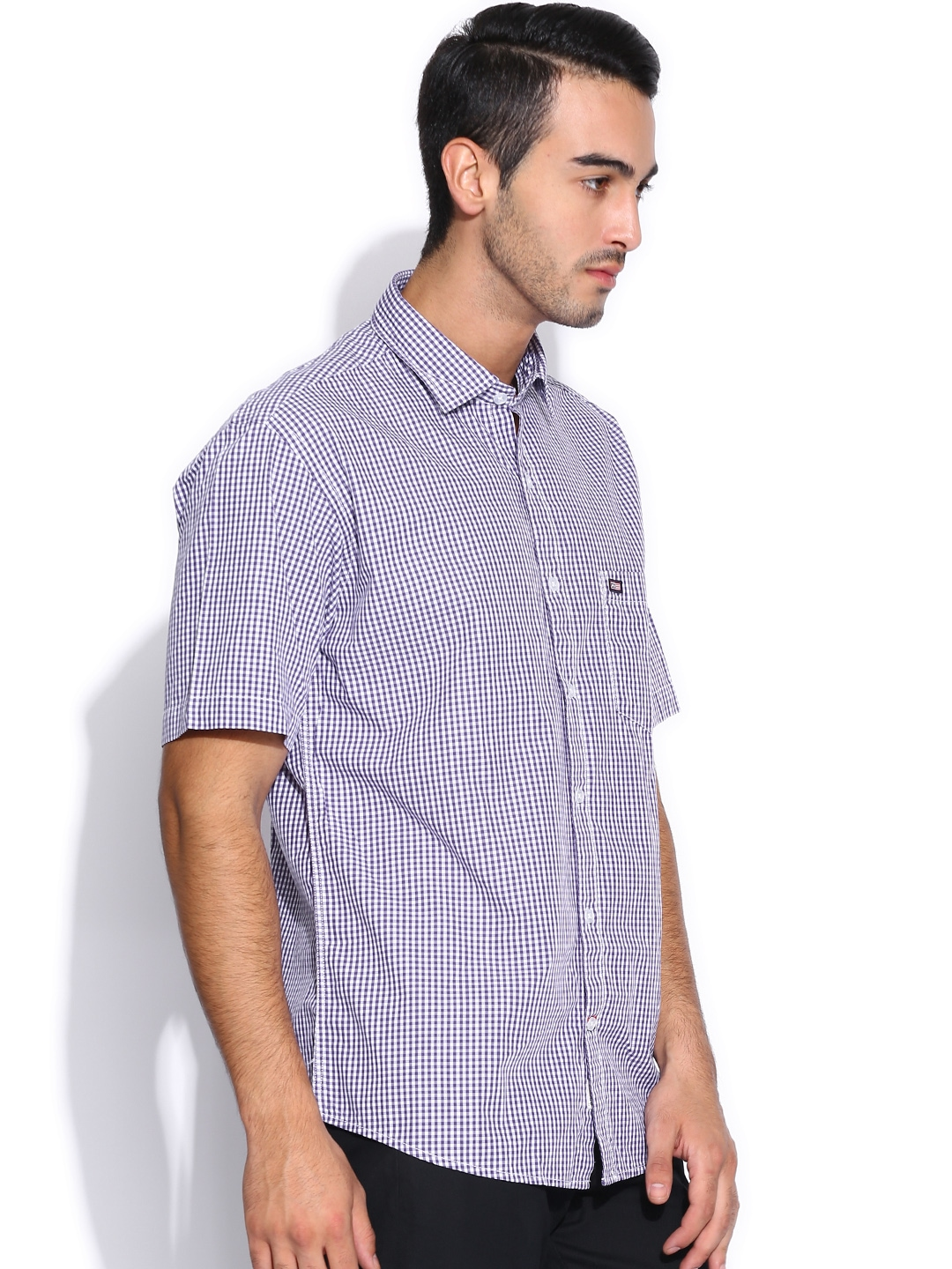Myntra arrow sport purple white regular sport fit casual for Purple and white checked shirt
