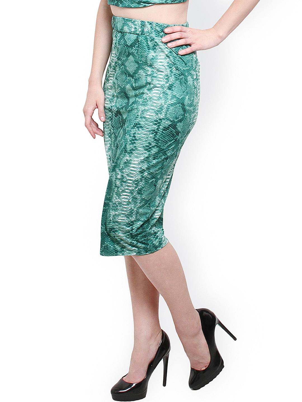 myntra xny green printed pencil skirt 864014 buy myntra