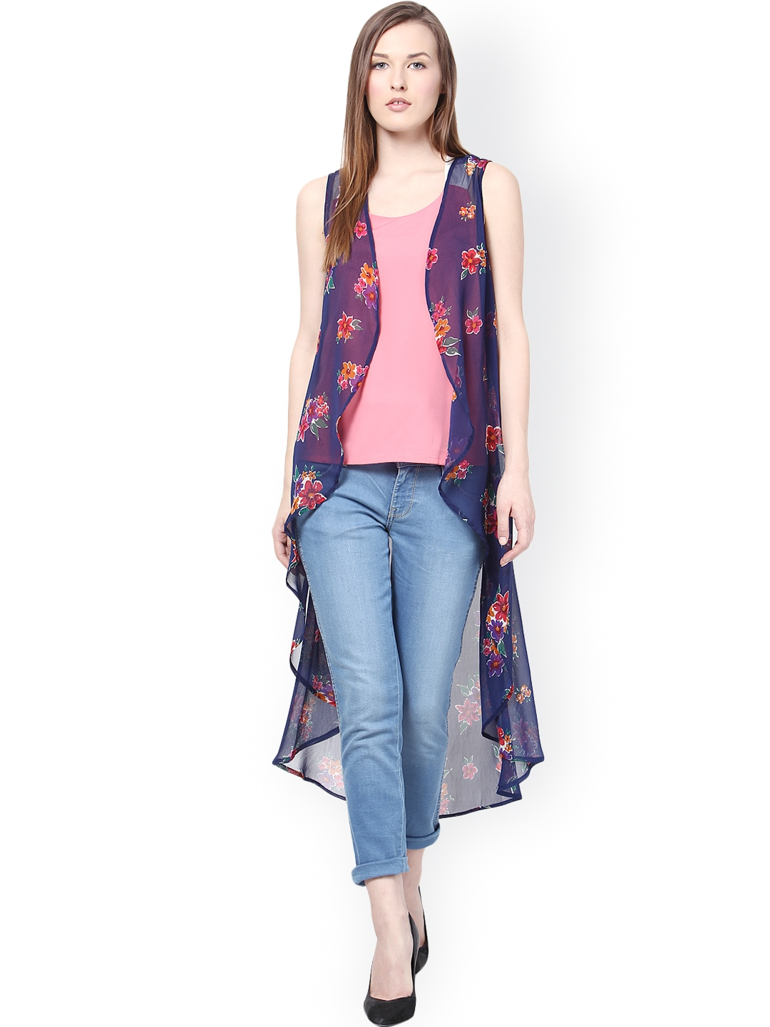 Myntra Harpa Blue Printed Long Shrug 865591