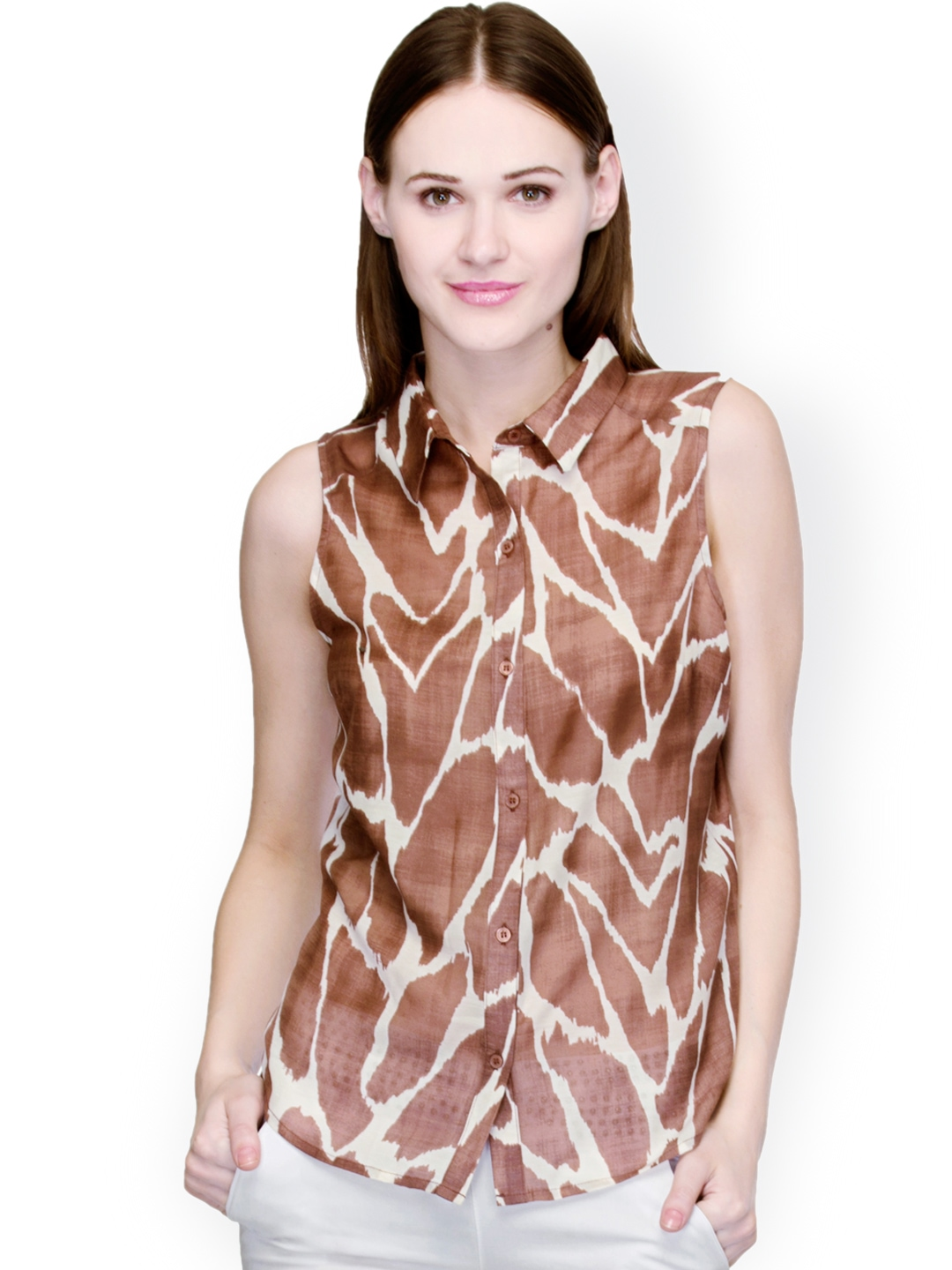 Myntra oxolloxo brown printed shirt 865816 buy myntra for Shirts online shopping lowest price