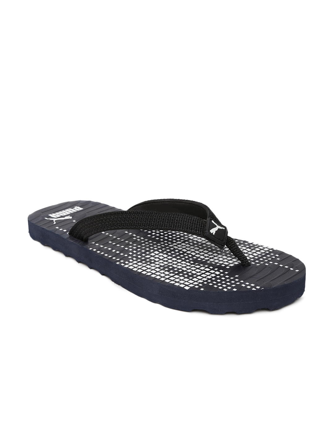 myntra puma unisex black navy printed flip flops 868136. Black Bedroom Furniture Sets. Home Design Ideas