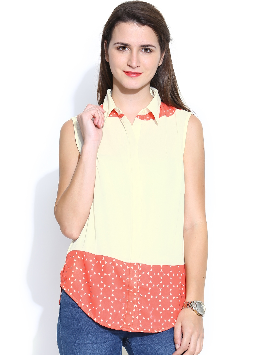 Myntra madame coral pink tuck shirt 870651 buy myntra at for Shirts online shopping lowest price