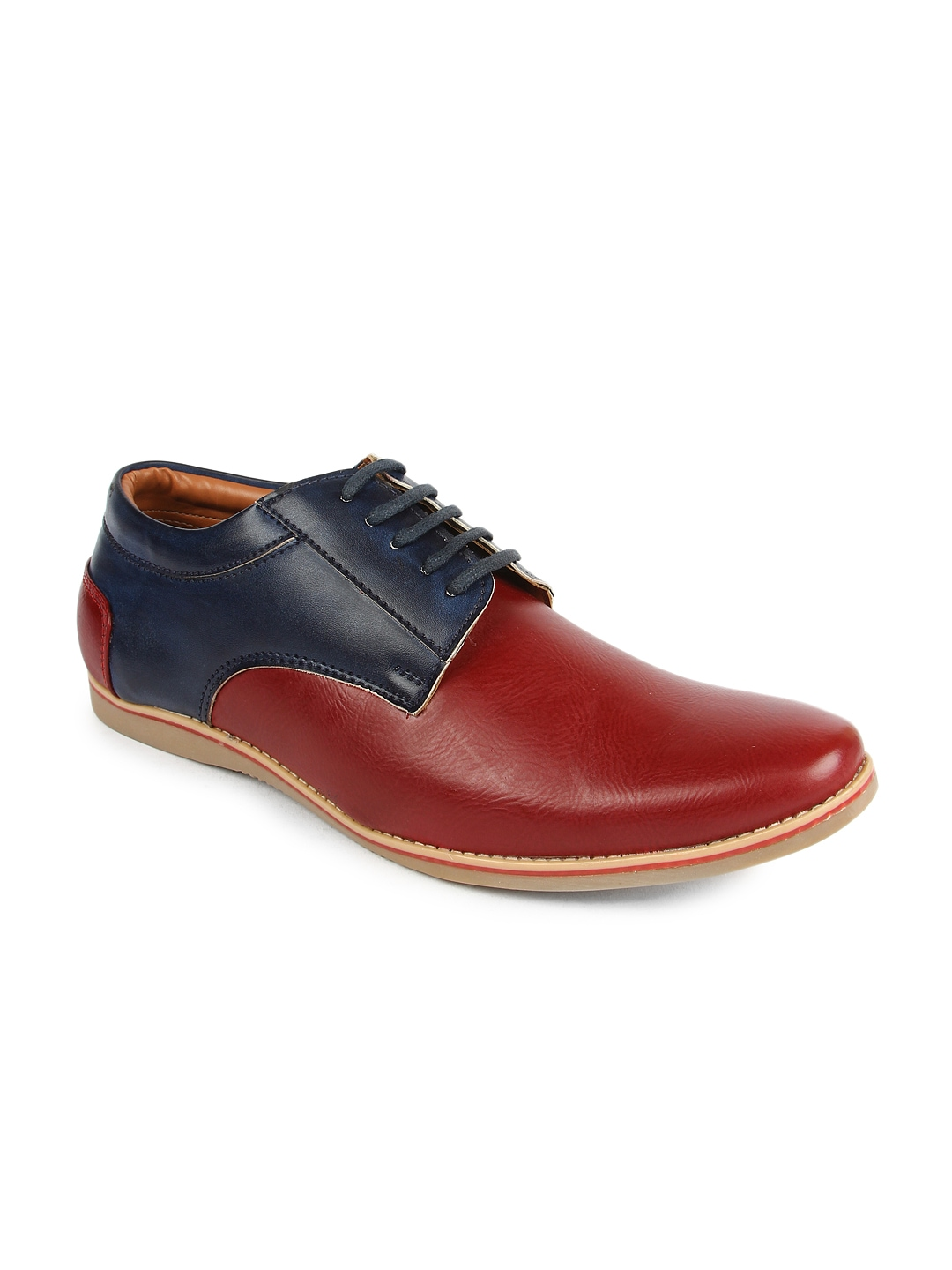 myntra woods burgundy blue casual shoes 870904