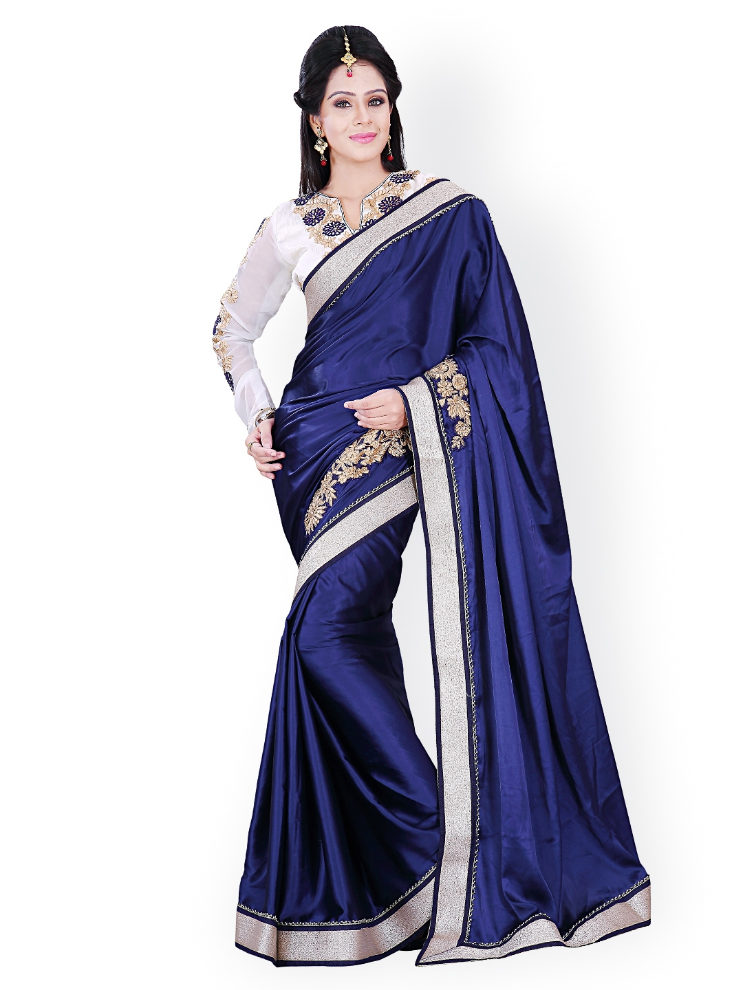 Myntra florence blue embroidered velvet fashion saree