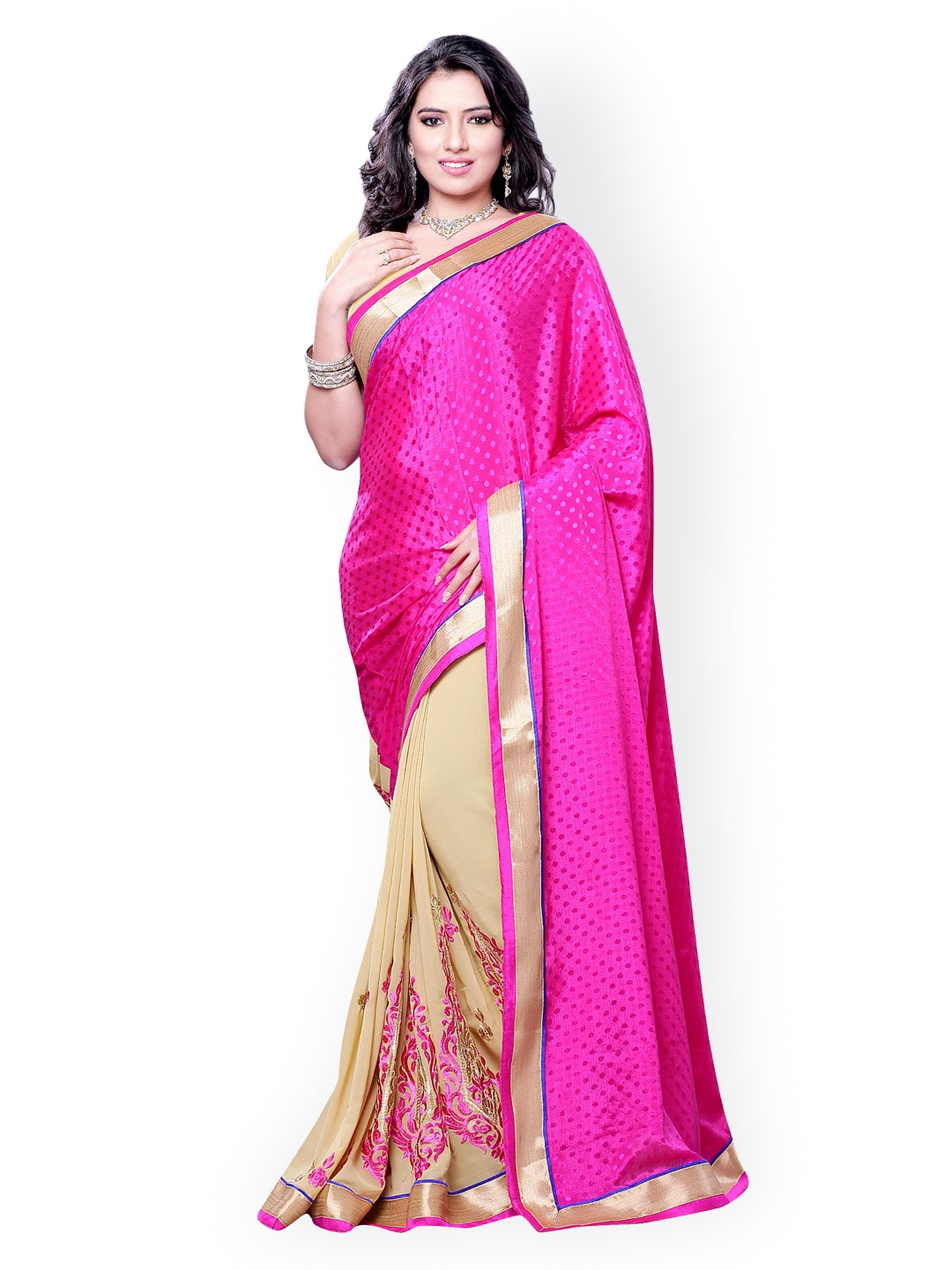 Myntra Colors Pink Beige Embroidered Georgette Jacquard Fashion Saree 871373 Buy Myntra 7