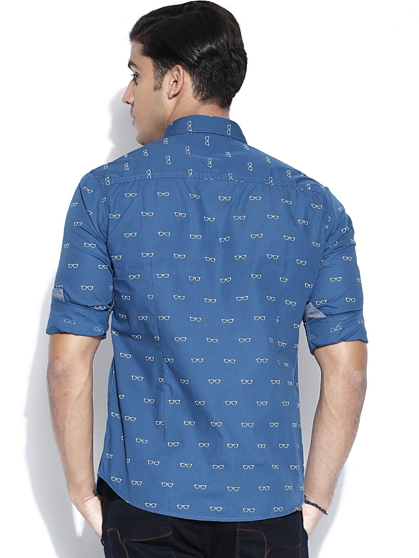 Myntra flying machine blue printed casual shirt 872246 for Machine to print shirts