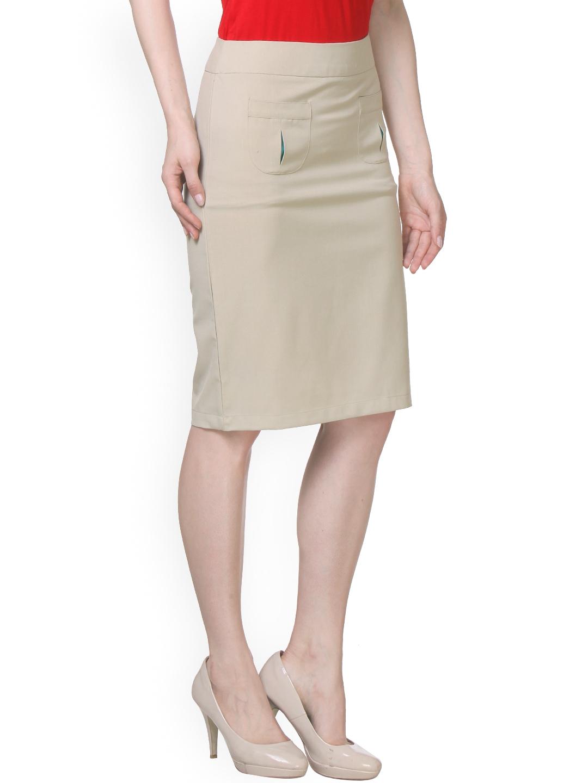 myntra kaaryah beige pencil skirt 872306 buy myntra