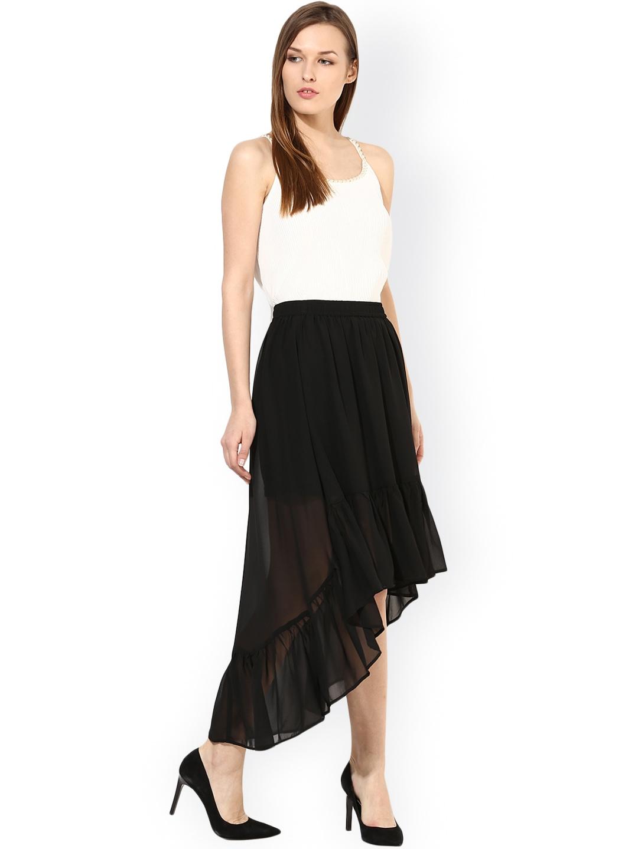 myntra harpa black high low skirt 872740 buy myntra