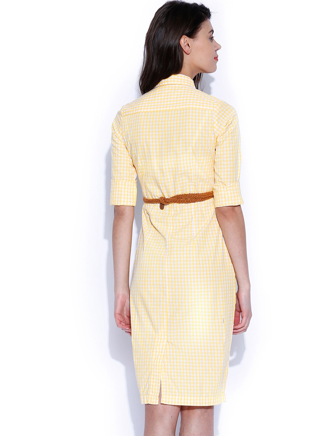 Myntra tokyo talkies yellow white checked shirt dress for Buy white dress shirt