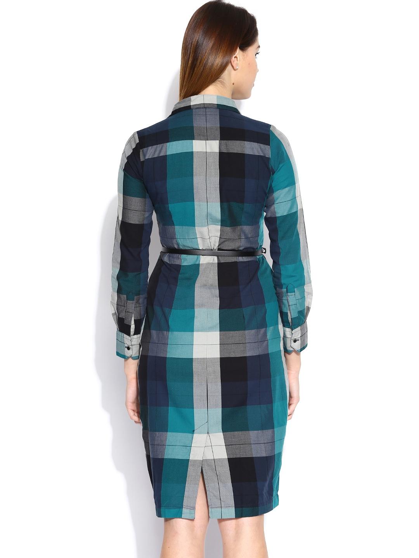 Myntra Tokyo Talkies Blue Grey Checked Shirt Dress