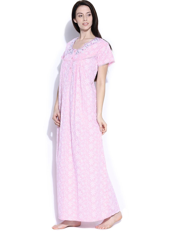 Myntra sand dune pink chikankari embroidered nightdress