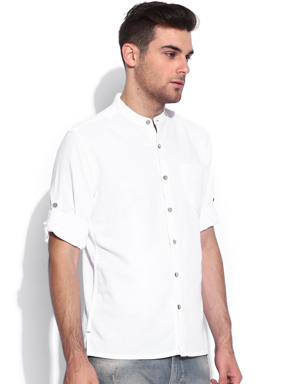Myntra locomotive white slim fit linen casual shirt 875437 for Slim fit white linen shirt