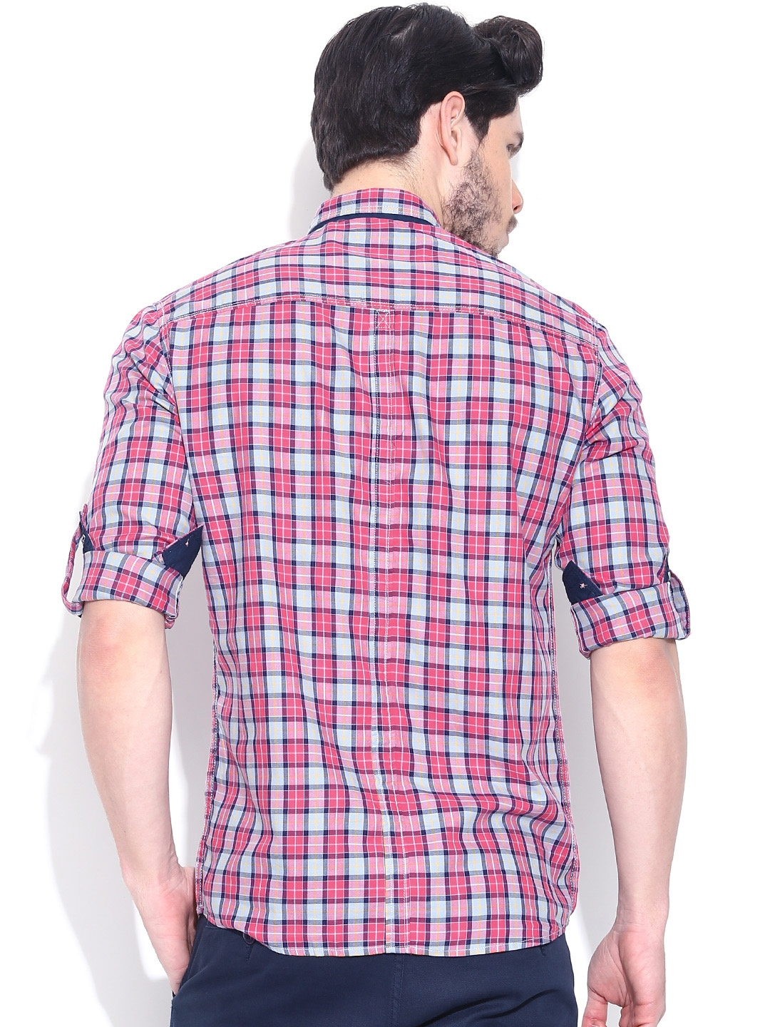 Myntra Nature Casuals Pink Grey Checked Casual Fit Shirt
