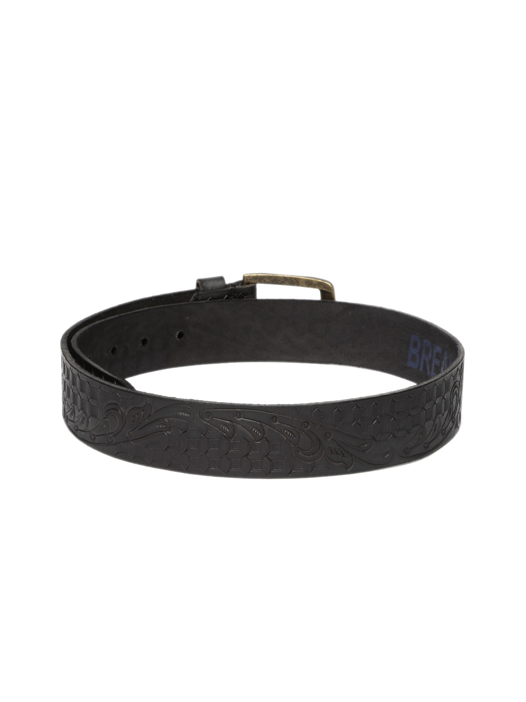 Myntra Breakbounce Men Black Engraved Leather Belt 877992 ...