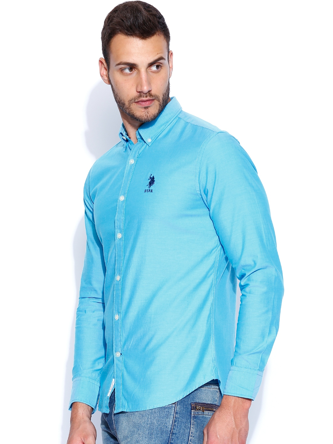 Myntra u s polo assn blue tailored fit casual shirt for Tailor dress shirt cost