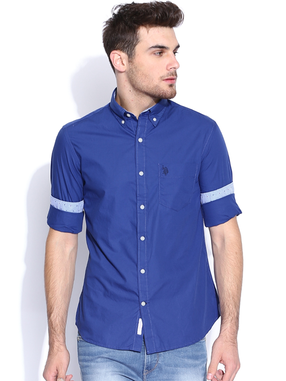 Myntra U S Polo Assn Blue Tailored Fit Casual Shirt