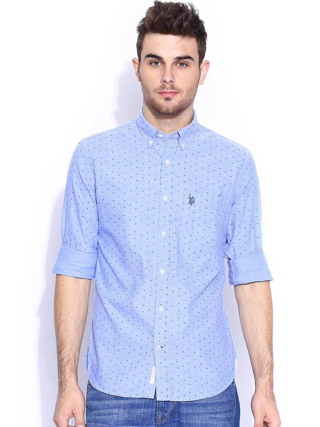 Myntra U S Polo Assn Blue Printed Tailored Fit Casual