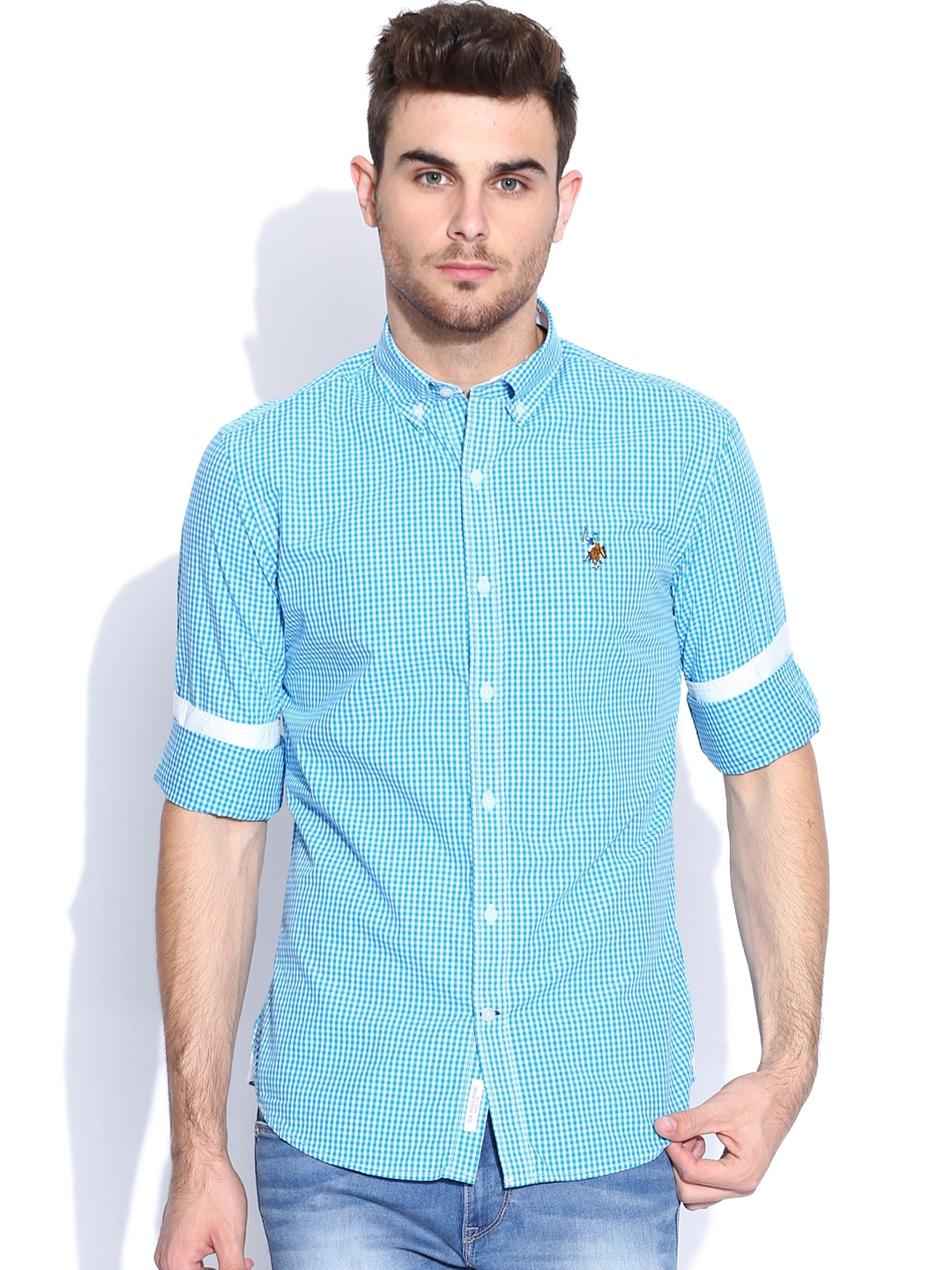 Myntra U S Polo Assn Blue White Checked Tailored Fit