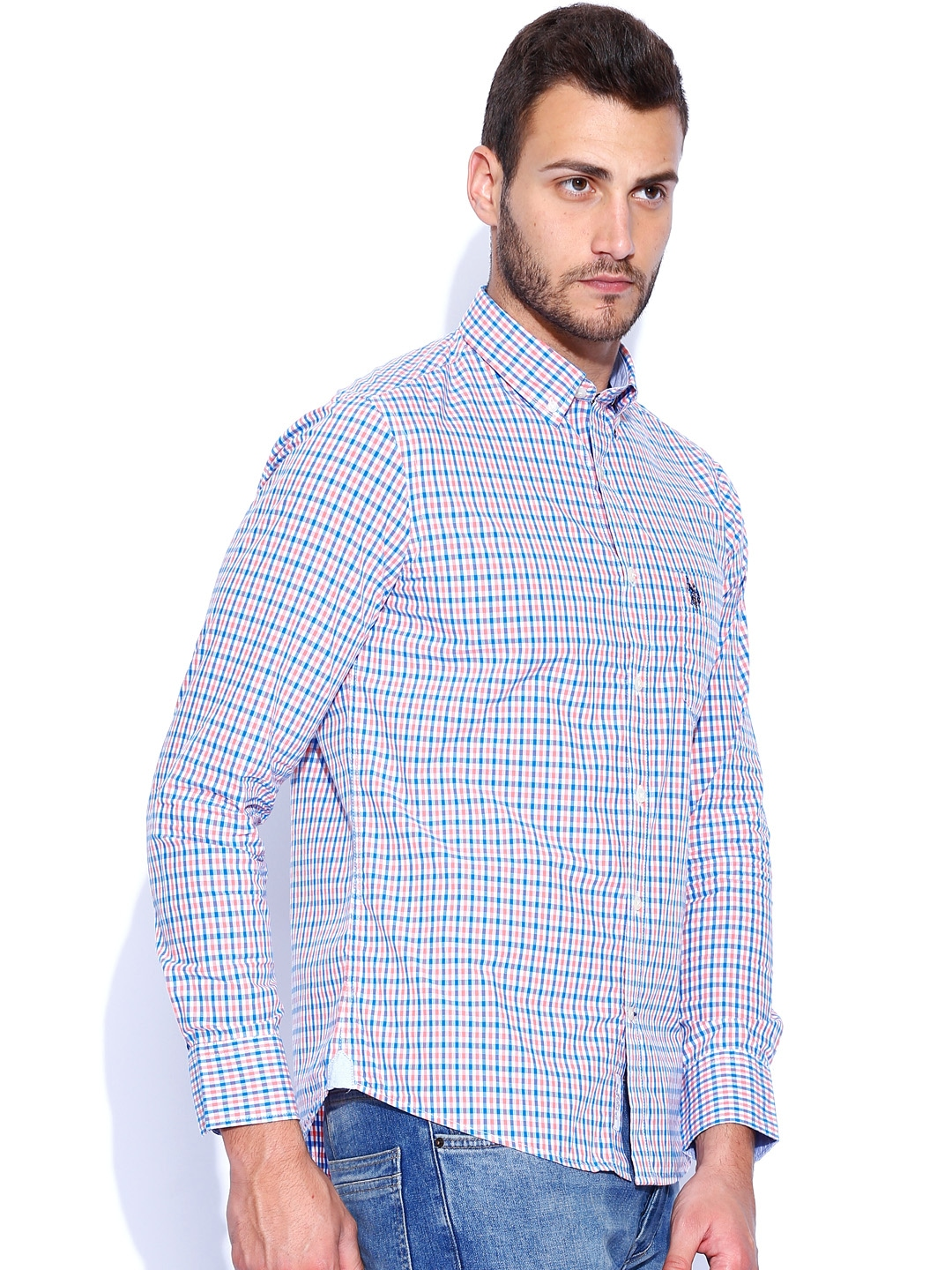 Myntra u s polo assn white blue checked tailored fit for Tailor dress shirt cost