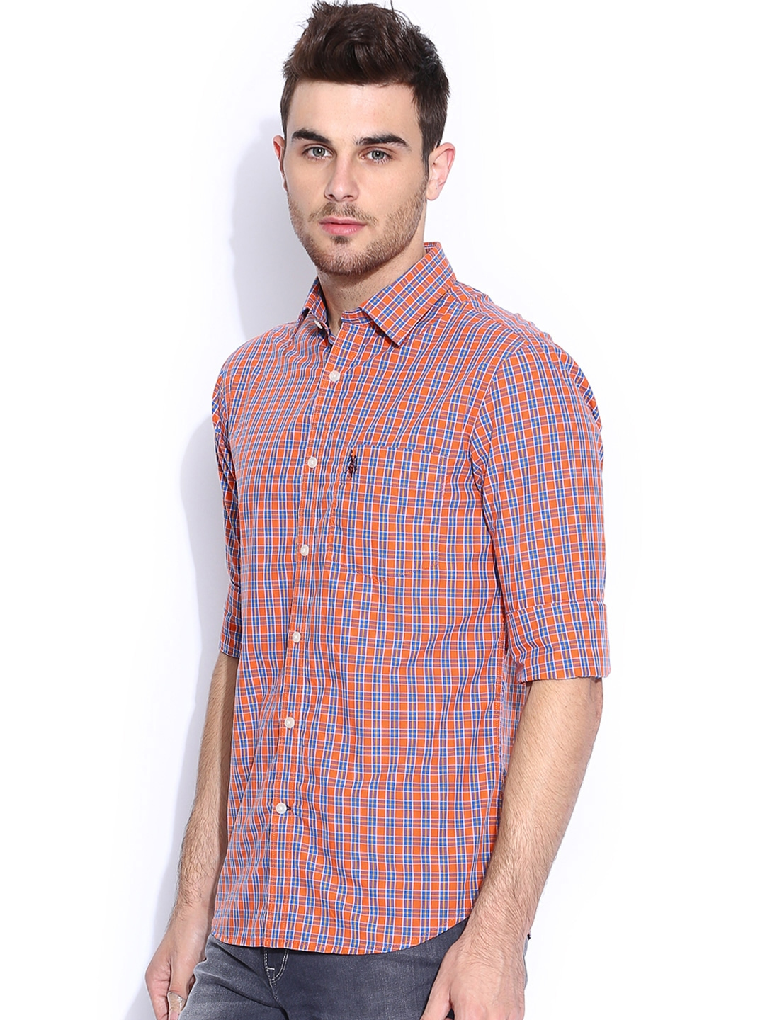 Myntra U S Polo Assn Orange Blue Checked Tailored Fit