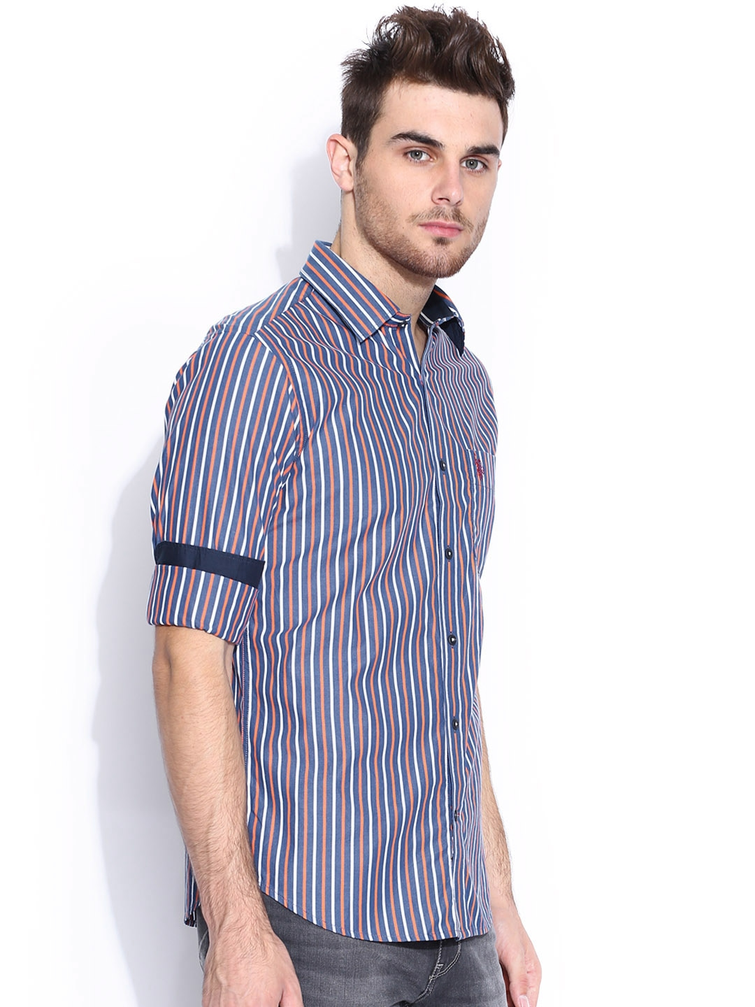 Myntra U S Polo Assn Blue White Striped Tailored Fit
