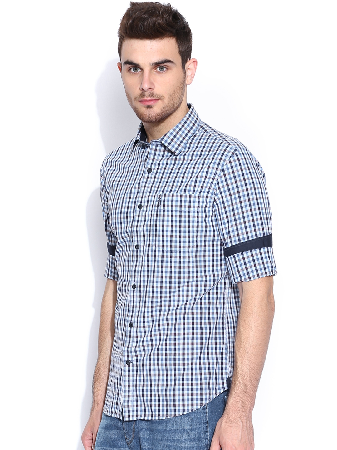 Myntra U S Polo Assn Blue Brown Checked Tailored Fit