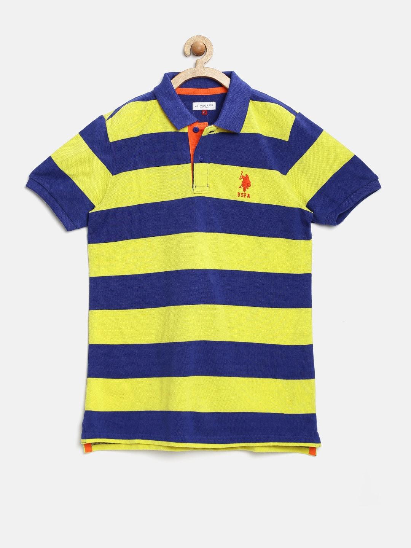 Myntra u s polo assn kids boys yellow striped polo t for Boys striped polo shirts