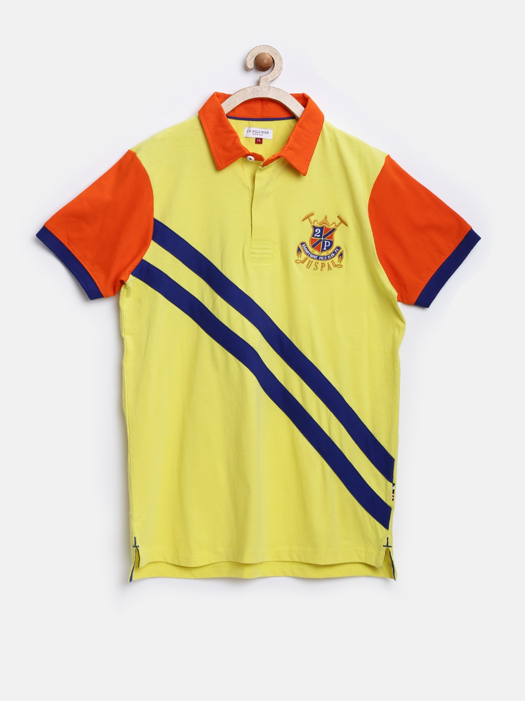 Myntra U S Polo Assn Kids Boys Yellow Polo T Shirt