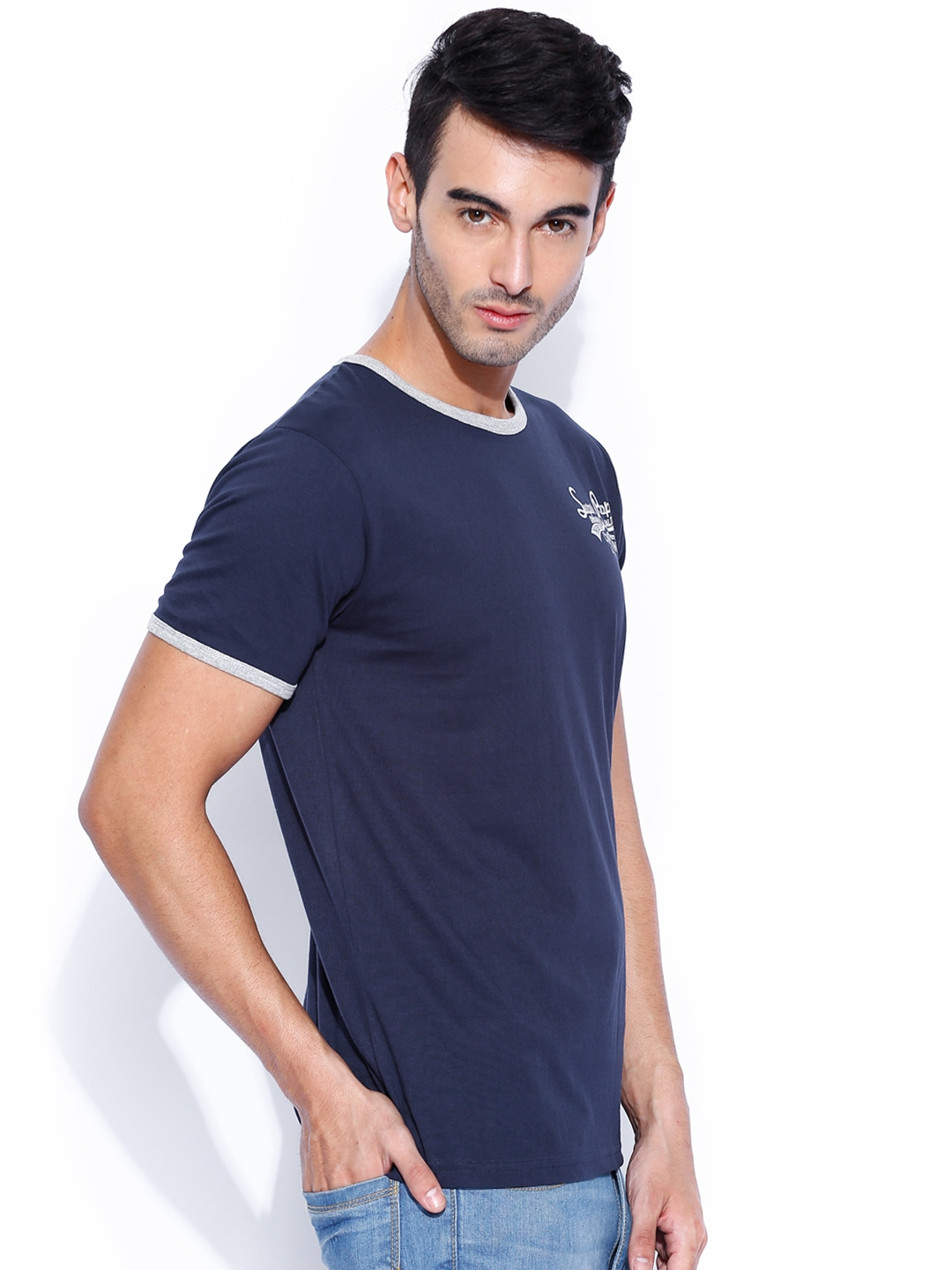 Myntra people navy blue t shirt 879913 buy myntra people for Navy blue shirt online
