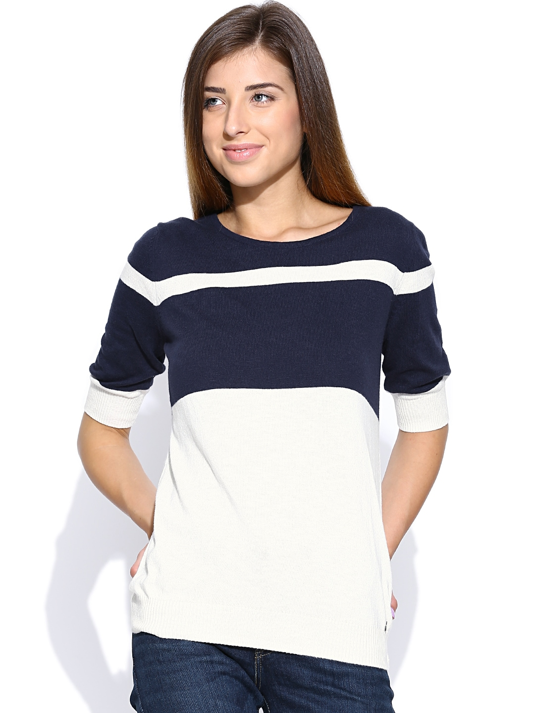 myntra levis navy off white sweater 880390 buy myntra. Black Bedroom Furniture Sets. Home Design Ideas