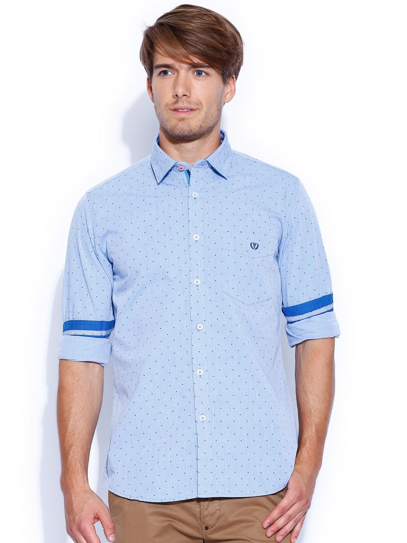 myntra van heusen sport blue printed slim fit casual shirt
