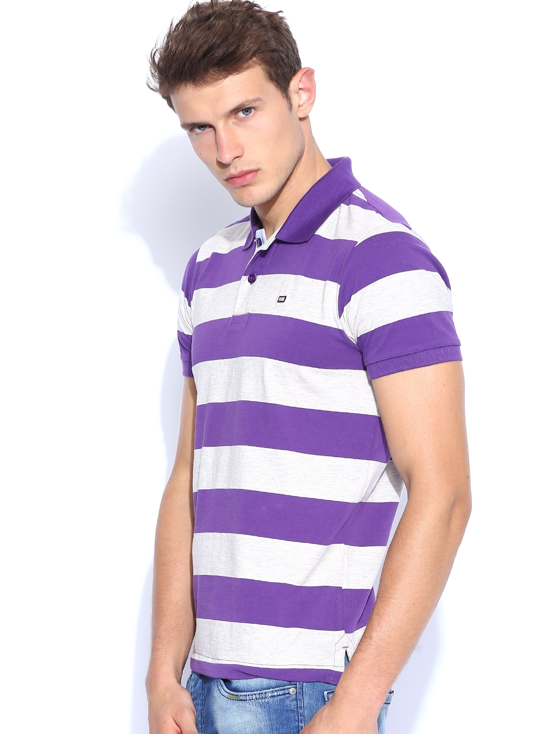 Myntra arrow sport purple grey melange striped polo t for Purple and black striped t shirt