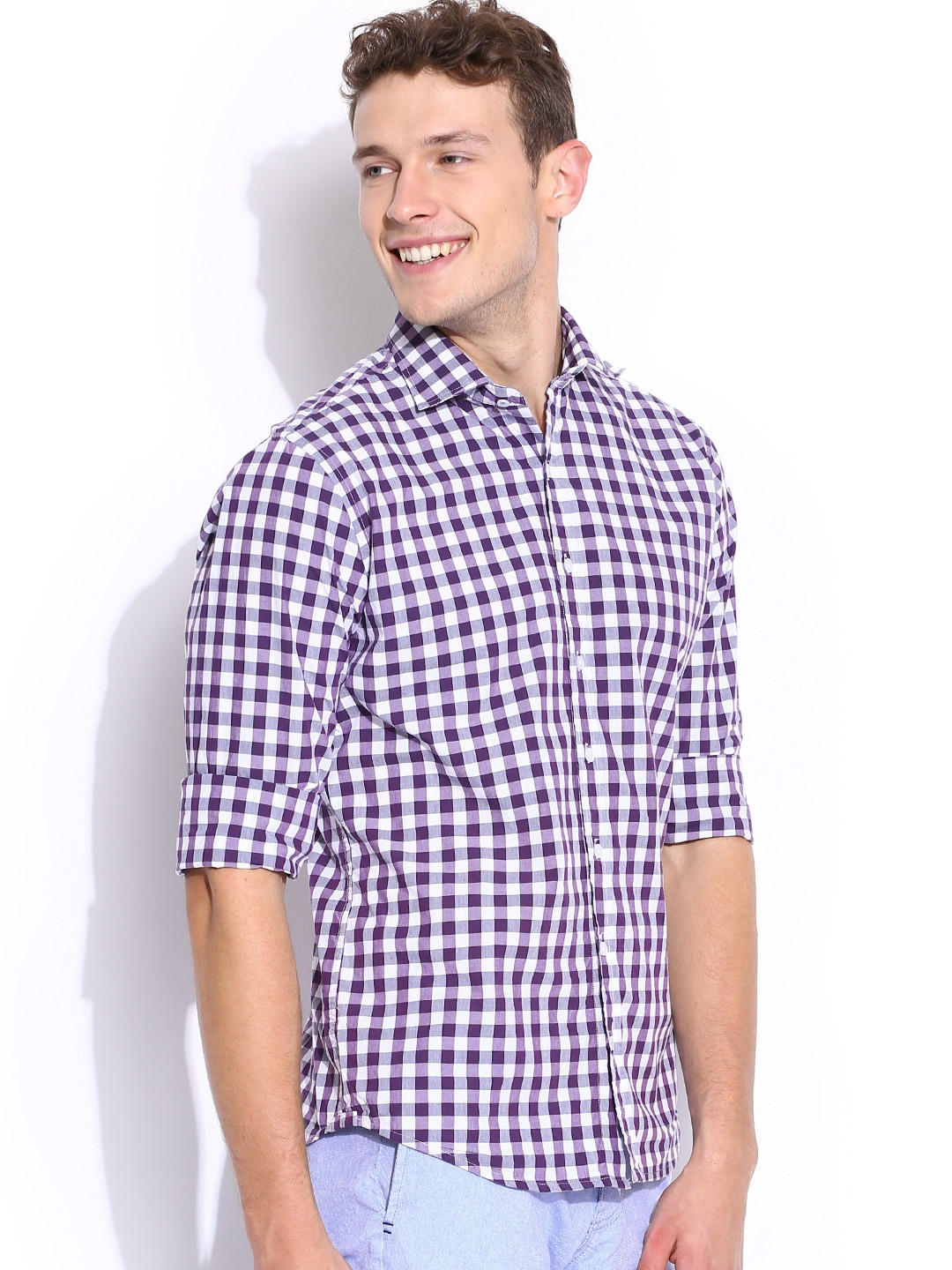 Myntra h e by mango purple checked slim casual shirt for Purple and white checked shirt