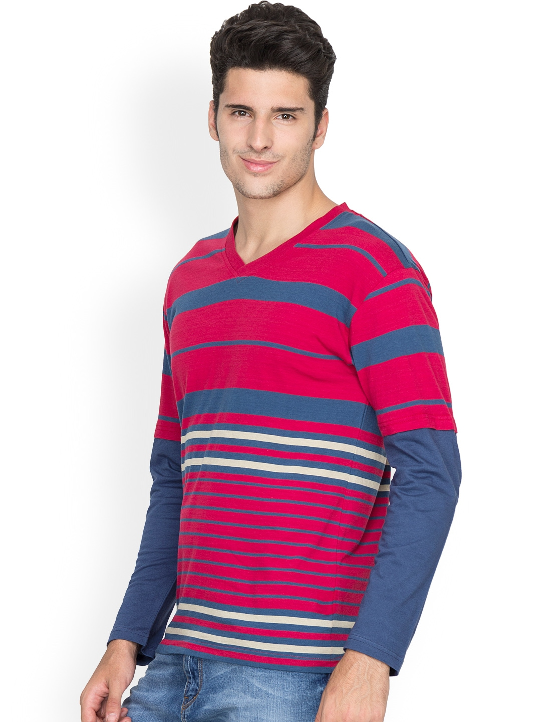Myntra hypernation red blue striped t shirt 881919 buy for Red blue striped shirt