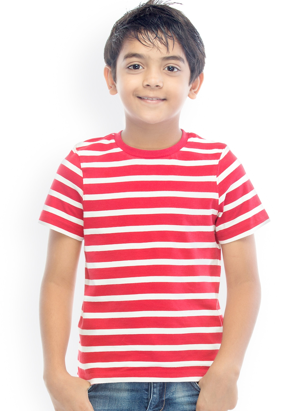 myntra oxolloxo boys red white striped t shirt 882375