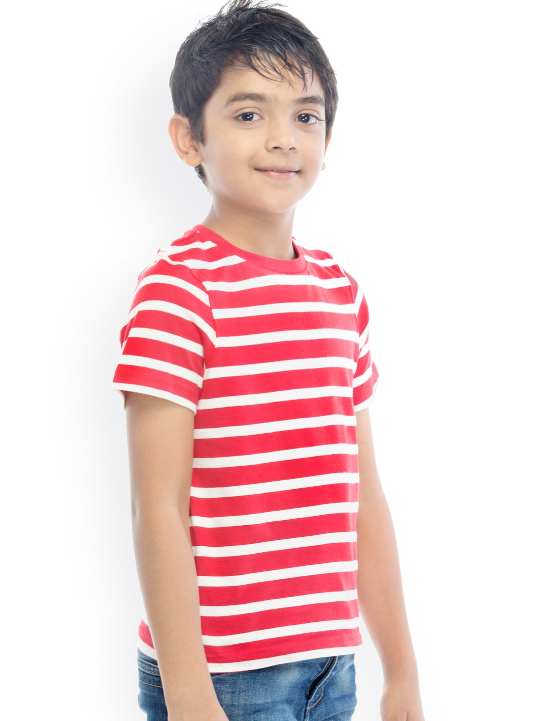 Myntra oxolloxo boys red white striped t shirt 882375 for Best striped t shirt