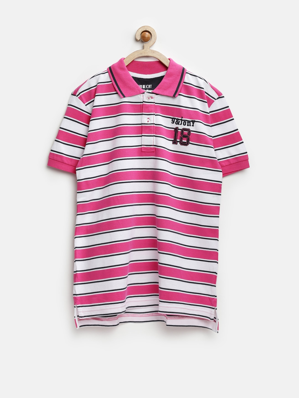 Myntra gini and jony boys pink white striped polo t for Boys striped polo shirts