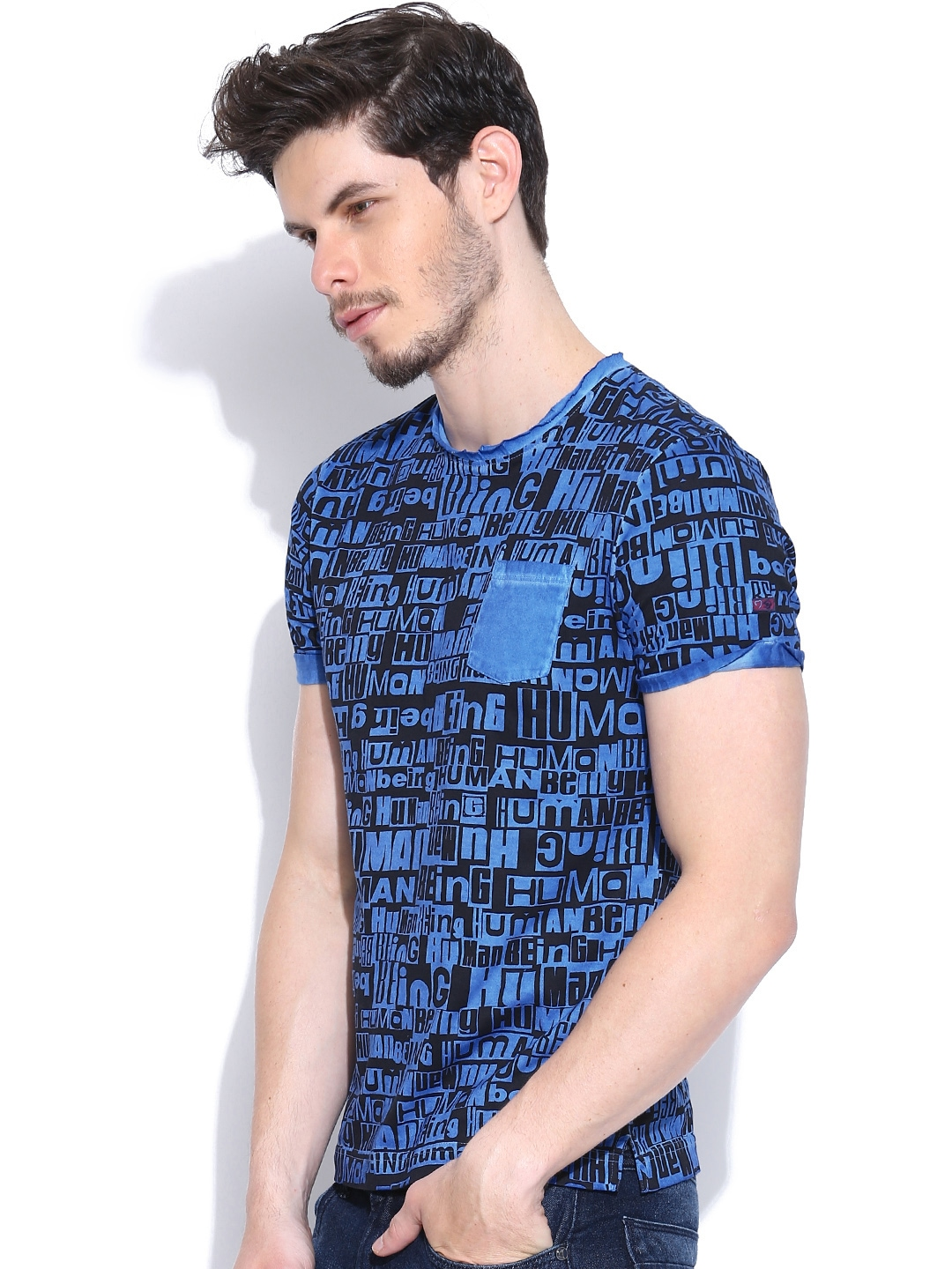 Myntra being human clothing blue black printed t shirt for Buy being human t shirts online