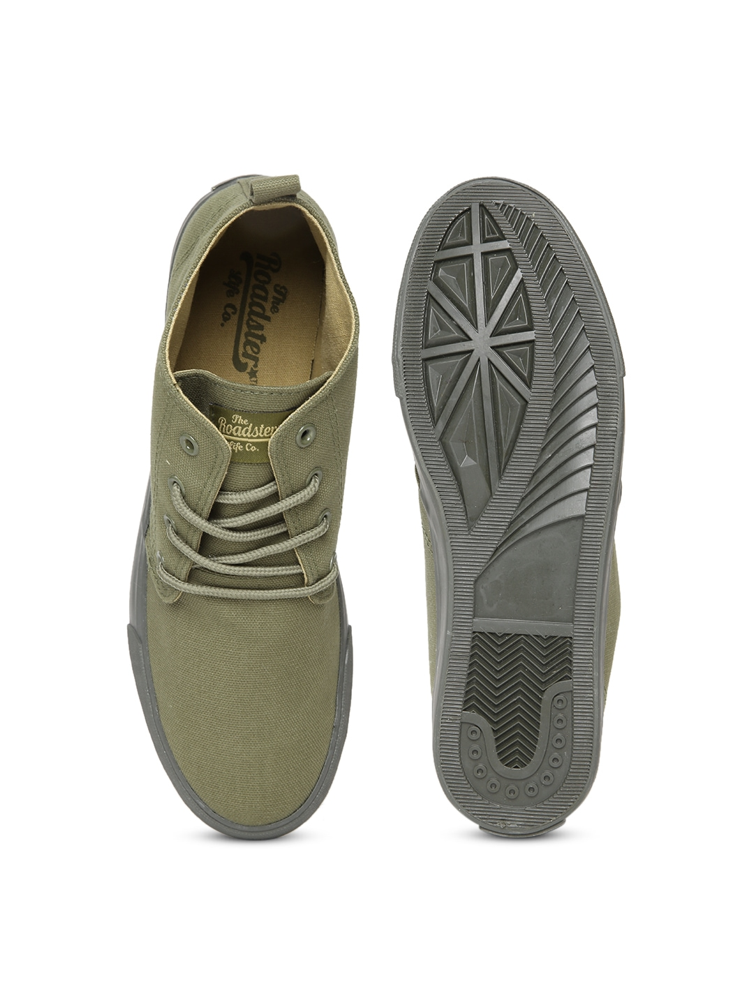 myntra roadster olive green canvas shoes 886652 buy