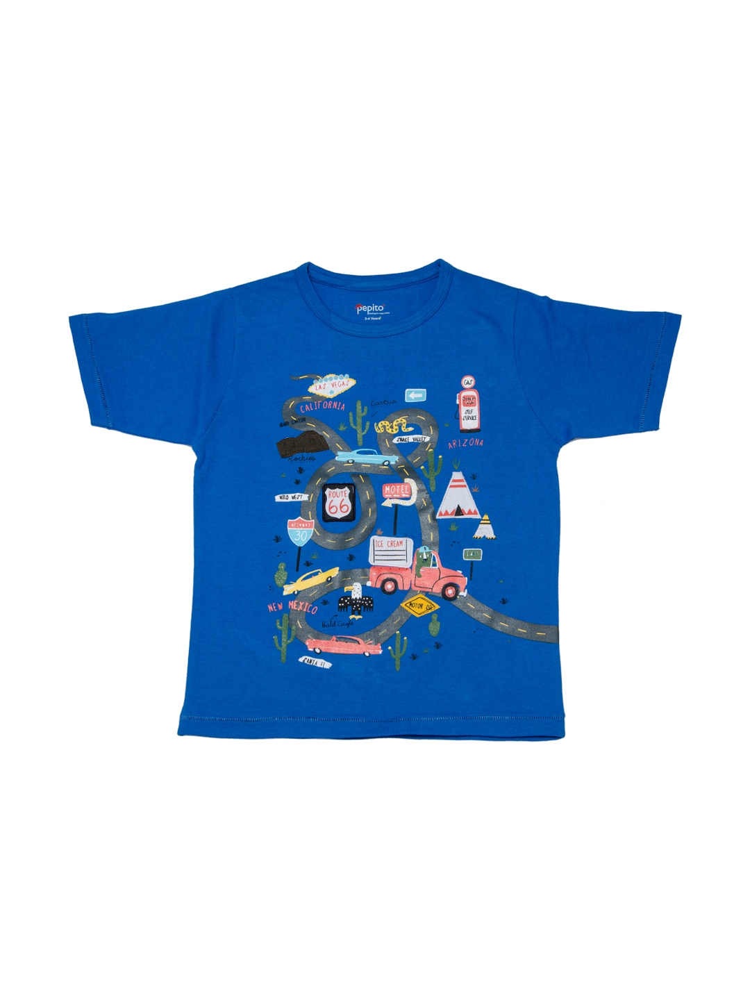 Myntra pepito boys blue printed t shirt 887953 buy for Shirts online shopping lowest price