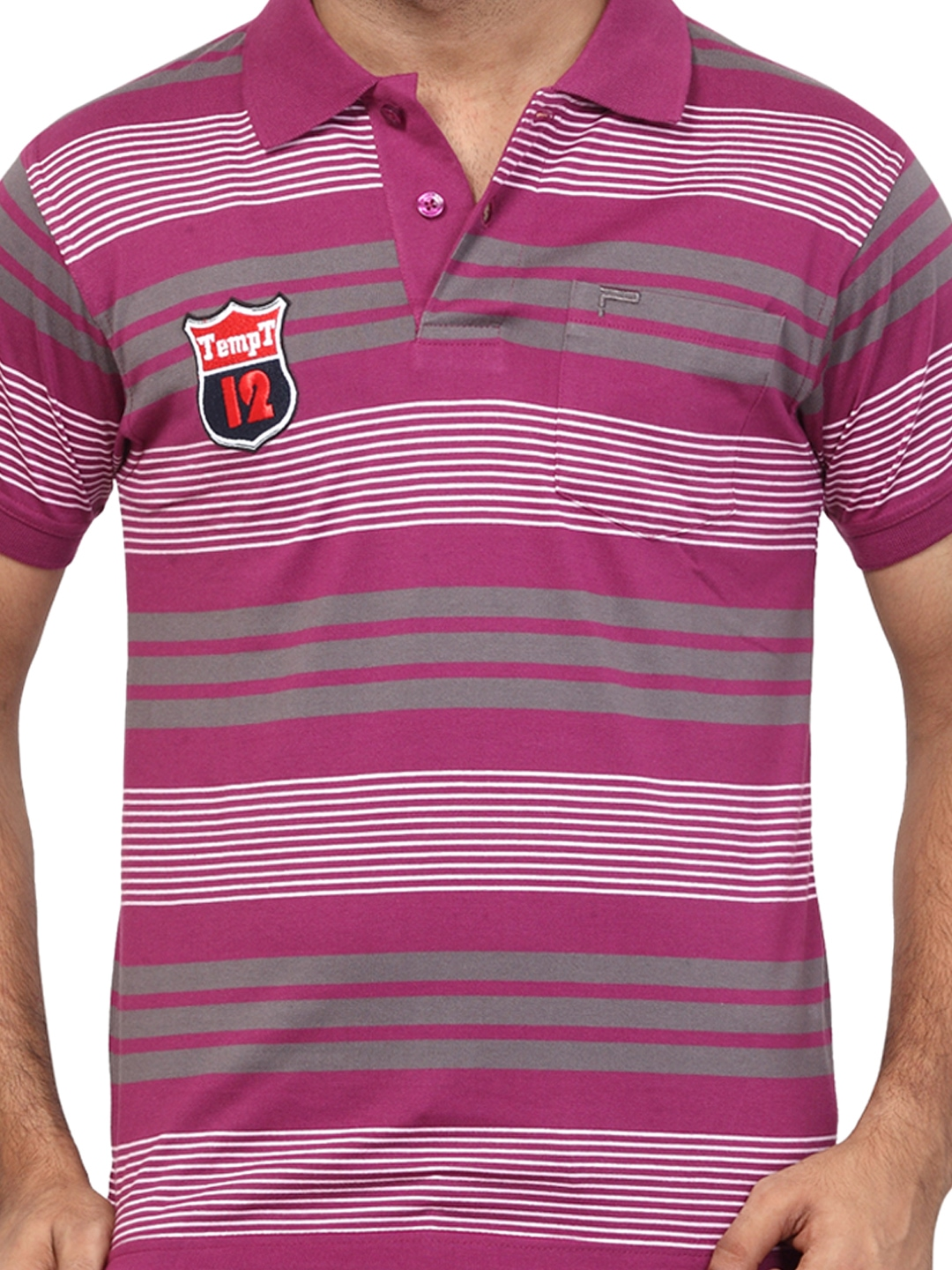Myntra orange valley purple striped slim fit polo t shirt for Purple and black striped t shirt